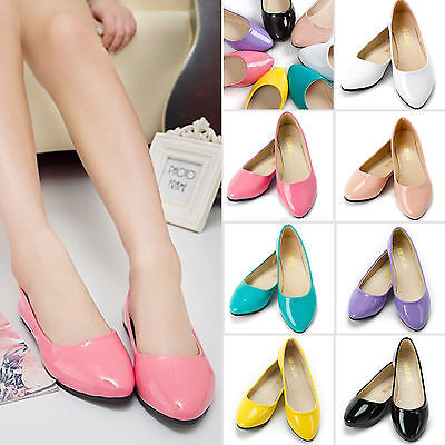 Womens Flat Pumps Slip on Casual Comfy Ballet Ballerina Dolly Bridal Shoes  AU