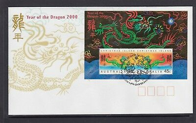 CHRISTMAS IS  2000  Year of the GOLDEN DRAGON  MINISHEET on FDC