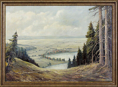 Oil painting signed C. Kauflehner View in the Valley Landscape 99860159