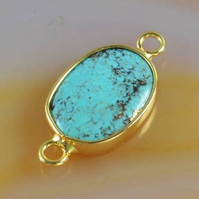 Natural Genuine Turquoise Bezel Connector Gold Plated H123766