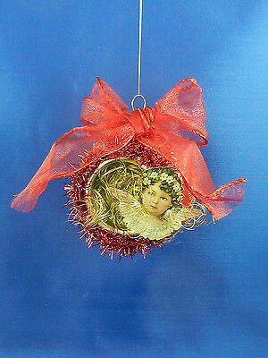 Vintage Style Victorian Scrap Angel Wings Glass Christmas Tree Ornament 003183