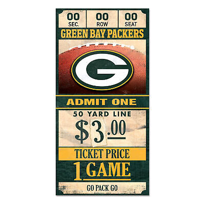 Green Bay Packers Old Game Ticket Holzschild 30 cm NFL Football Wood Sign