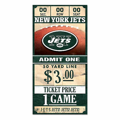 New York Jets Old Game Ticket Holzschild 30 cm NFL Football Wood Sign