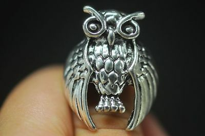 Rare Chinese Tibet Silver Miao Silver Ring Mascot Owl Old