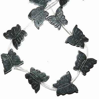 NG2286f Dark Green 22mm Flat Carved Butterfly Serpentine Gemstones Beads 14pc