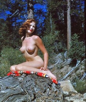 1950s Original Nude 3D Stereo Realist Slide Buxom Redhead in the Mountains vv