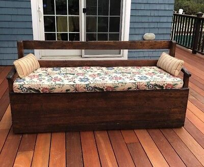 Rare Antique Primitive Pine Wood Hand Wrought Nails Bench 18th/19th Century