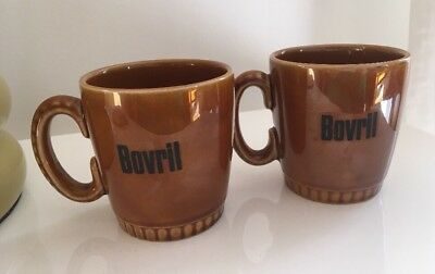 Small Earthenware Vintage Lord Nelson Pottery Honey Glazed Bovril Mugs 1960's X2