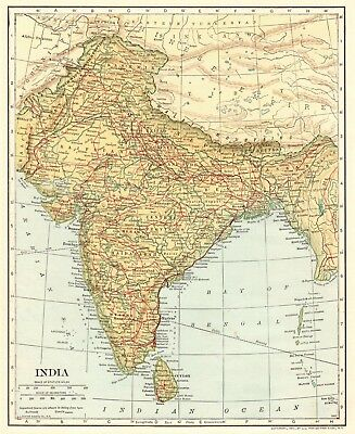 1907 Antique Map of INDIA Collectible Vintage Map of India Gallery Wall Art 5819
