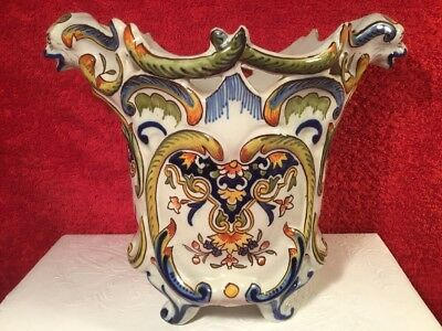 Antique Planter French Faience Hand Painted Dragon Handled c.1800's, ff669