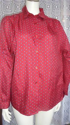 Vintage Bluse Rot mit Paisley Muster Gr. 44 46 Exclusive Fashion