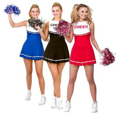 Cheerleader Red Blue Black Hen Do Party School Womens Fancy Dress Costume