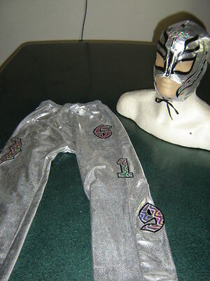 REY MYSTERIO SILVER SUIT 6-10 year COSTUME FANCY DRESS OUTFIT FREE SHIPPING.