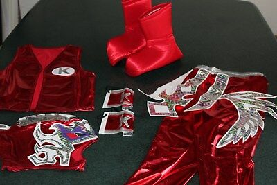 KALISTO RED KIDS SUIT 6-10 year LYCRA FANCY DRESS COSTUME OUTFIT CHILDREN FREE..