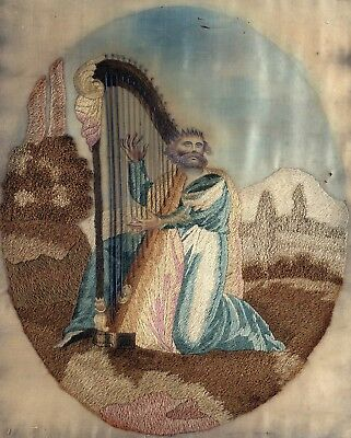 Beautiful Antique Stump Work Embroidery of King David With Harp