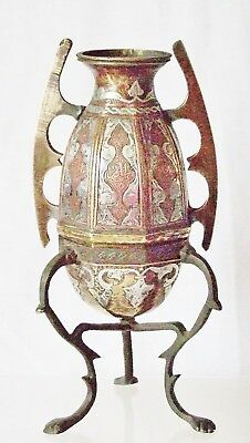 Antique 'cairo Ware'~Unusual Amphora On Stand~Silver & Copper Onlaid To Brass