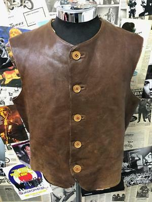 Vintage 1940s Brown Muff & Co Military Jerkin Vest Jacket Leather Brown Large