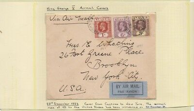 St. Lucia 1932 FURNESS BERMUDA LINE Cover by AirMail to BROOKLYN, U.S.A.Incl 1/-