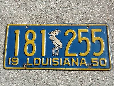 Louisiana  1950  Pelican license plate # 181  255