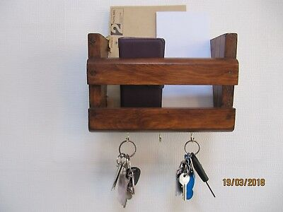 Rustic Wood ~  Wall Mounted 25 Cm Letter Rack, Mobile Phone and Key Tidy