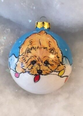 Norwich terrier Hand Painted Ornament  By  Darci