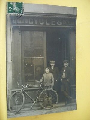 33 Carte Photo - Magasin Cycles Entretien Reparation. Cachet Postal Gironde 1909