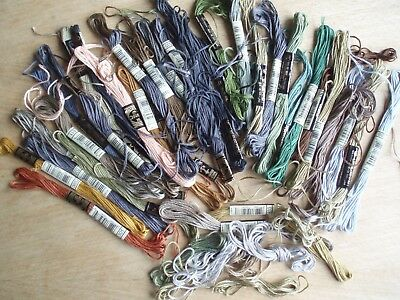 Embroidery Threads DMC. Oddments of Part Used skeins. Assorted colours