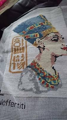 completed tapestry Egyptian Queen Neffertiti by READICUT 23cm x 34cm approx