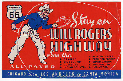 1940 ROUTE 66 TRAVEL Label DECAL Gallup New Mexico WILL ROGERS HIGHWAY Ozarks