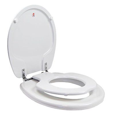 TOPSEAT TinyHiney Potty Toilet Seat, Adult/Child with Chromed Metal Hinges,