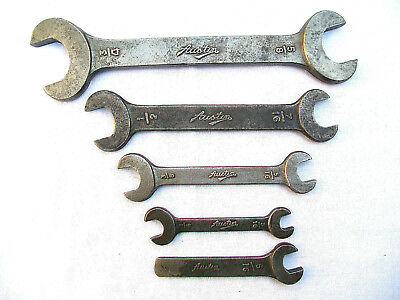 5 Vintage, Austin Tool Kit Spanners, Wrenches, 3/16 - 3/4 W.