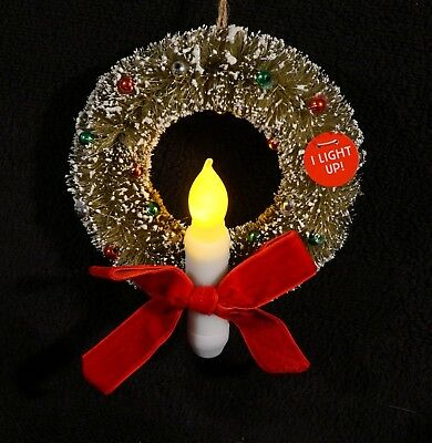 Vintage Style Bottle Brush Wreath Ornament With Lighted Christmas Candle