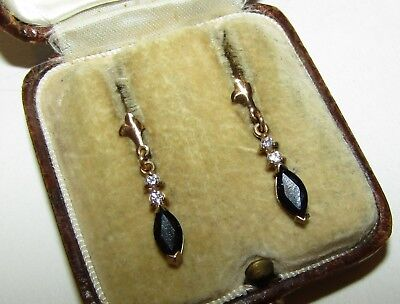 Adorable, Art Deco, 9 Ct Gold Earrings With Dark And White Sapphire Gems