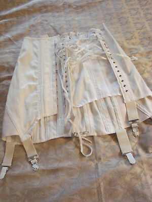Vintage 60s Corset Girdle Garters Lace Up  Stays 26 Cotton Twill White Boning