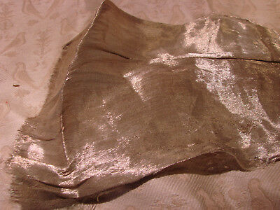 Vintage 20s Fabric ANTIQUE SILVER LAME Remnant 8x9""
