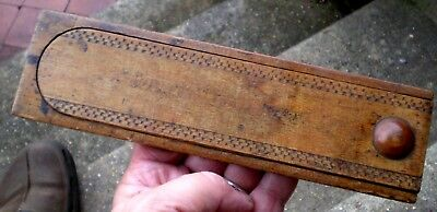 Vintage 19th Century Decorated Treen Wooden Pencil Case