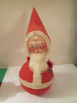 Vintage Cardboard Roly Poly Santa Box  As Is
