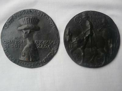 interesting large  pair of antique medals after Pisanello probably electrotype