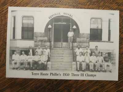 1950 baseball real photo postcard-Terre Haute Phillies-Indiana-Central Hotel