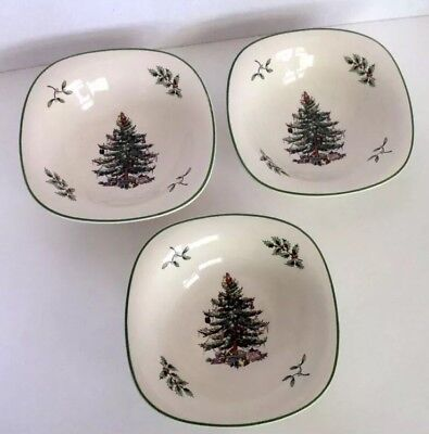 """3 Spode CHRISTMAS TREE 5"""" Square Bowl Dish S3324-A11 Nuts Candy Dips Retail $50"""