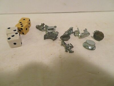Vintage Monopoly metal game pieces Lot Of 10 & 4 dice