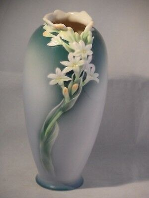 "FRANZ PORCELAIN TURBEROSE VASE XP1893 UNUSED BOXED BEAUTIFUL 8 1/4"" 21cm HIGH"