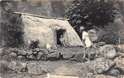 LP35 Hawaii Grass Hut  Hawaiian Islands RPPC  Vintage Postcard