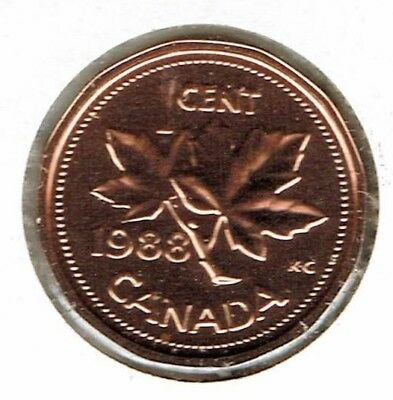 1988 Canadian Proof Like One Cent Elizabeth II Coin!
