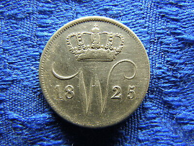 NETHERLANDS 10 CENTS 1825B, KM53 rubbed