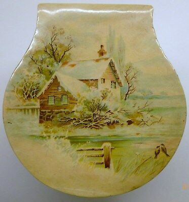 Antique CELLULOID BOX Winter Scene PINK ROSES Collar VANITY Clothing