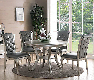 Zeyna 5Pc Round Platinum Silver Finish Wood Dining Room Table Gray Chairs Set