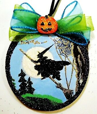 Hand Made~ Flying Witch  Spider Web Moon Scene ~ glittered wood slice Ornament