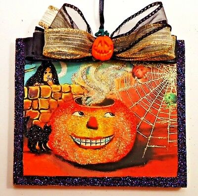 Hand Made~ JOL Pumpkin w/Witch Blk Cat Web ~ glittered wood Halloween Ornament