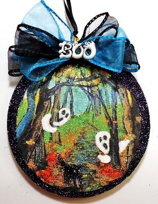 Hand Made ~ Ghosts w/Black Cat Woods ~ glittered wood slice Halloween Ornament